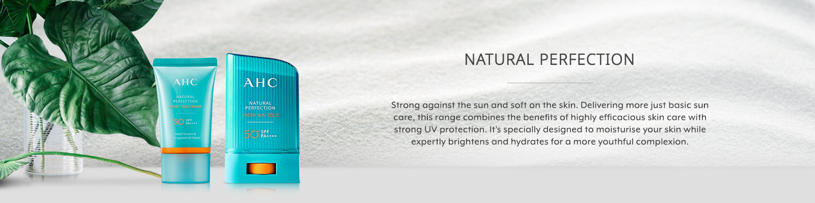 AHC Natural Perfection Sun Care Banner