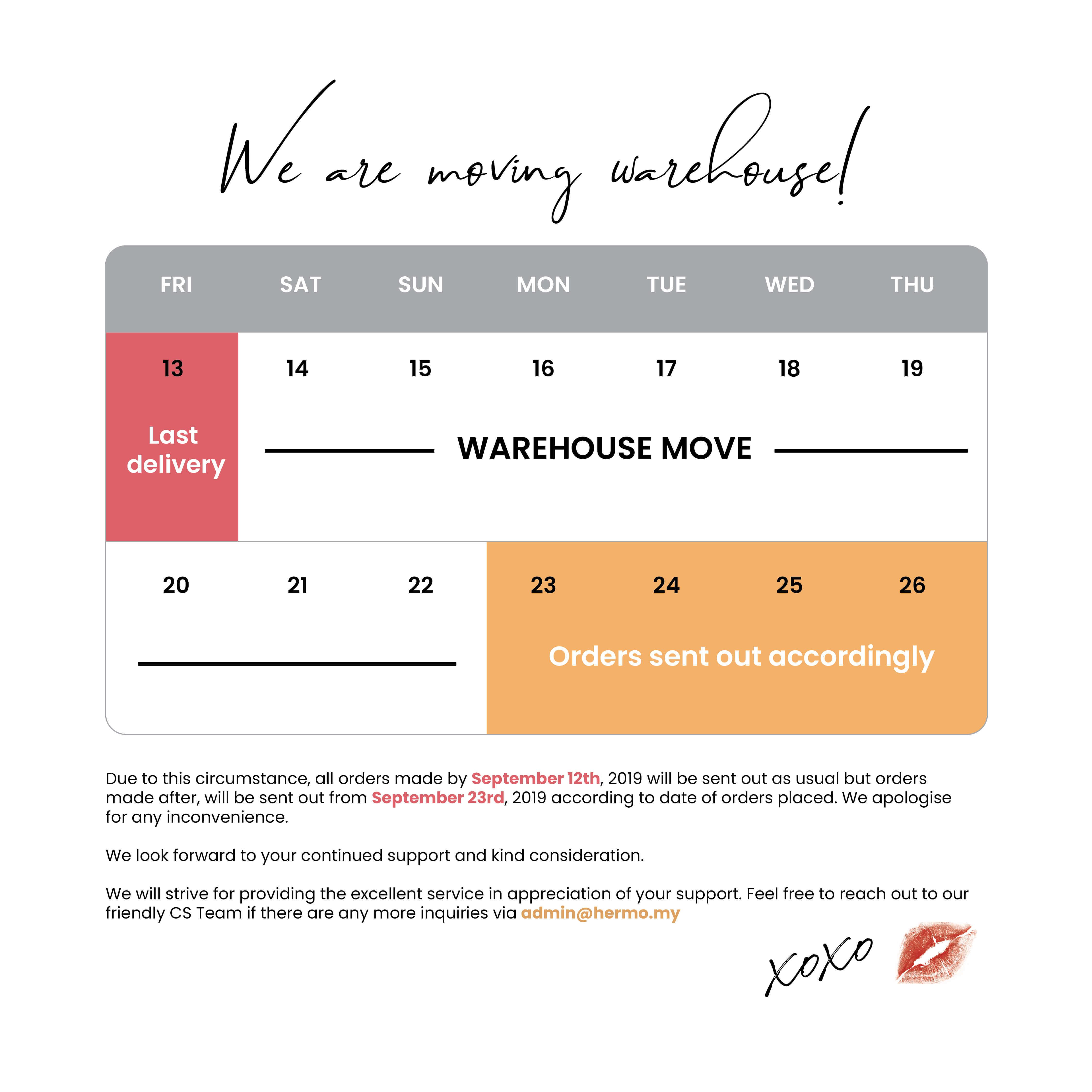 Warehouse Announcement
