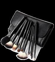 Cerro Qreen Fashion Makeup Brush Kit Natural Animal Wool - 10pcs [#Black]