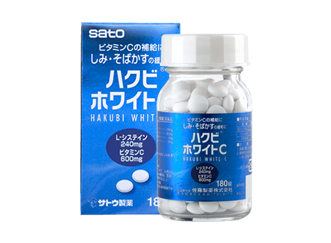 HAKUBI WHITE C PLUS is formaulation with Vitamin C and L-Cysteine. Vitamin C is essential for general make-up of the body and L-Cysteine is an amino acid. It contains Pyridoxine (Vitamin B6) and Pantothenic Acid which helps in maintenance of good health.