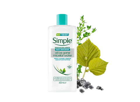 With Simple Daily Skin Detox Oil Be Gone Micellar Water you can now say bye bye to pore-clogging impurities and excess oil and hello to clear, fresh skin!