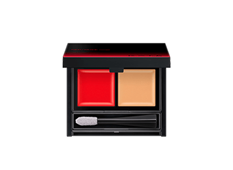 Create the perfect red color for you by layering the nude color over the vivid red base.